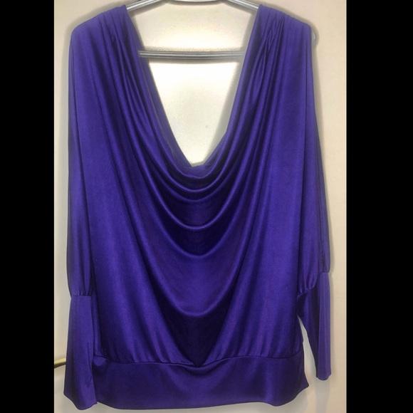BCBG Cowl Neck, Open Shoulder, Purple Sateen Shirt